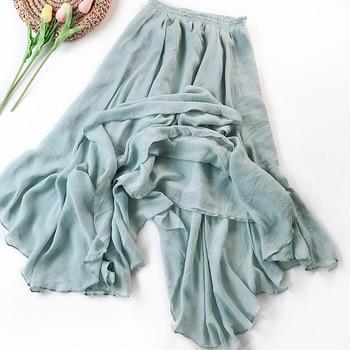 цена на HLBCBG Summer Women Skirt High Waist Hem Asymmetric Casual Medium Long Cotton Linen Skirts Female Elastic Waist Vintage Skirt