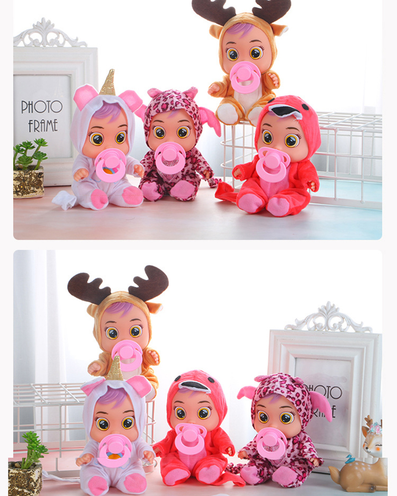 3D Crying Babies Dolls 8 Inch Surprise Baby Boy Girl Toys Cute Animal Dress Doll Feeding Toy Birthday Gift For Children