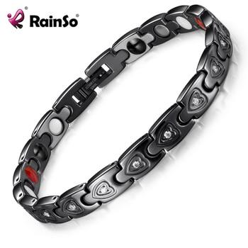Rainso 2021 New Natural Healthy Bracelet Trendy Unisex Bio Energy Stainless Steel Gnet Negative Ions Germanium Bracelets Jewelry 1