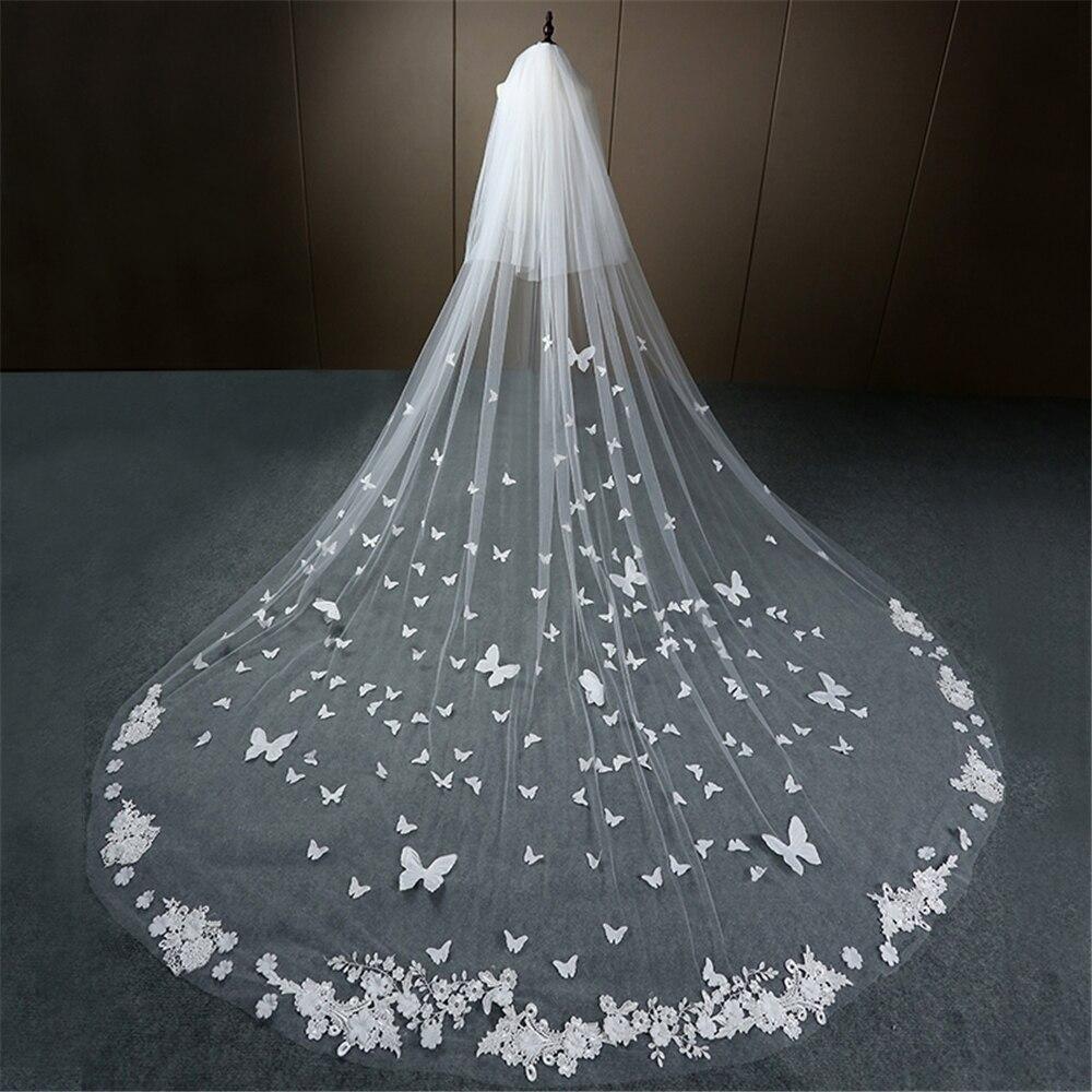 Véu de casamento longo borda de renda 3d borboleta apliques florais rosto-coberto catedral véu de noiva com pente velo de novia branco marfim