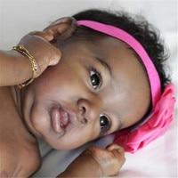 22'' Little Karen Reborn Baby Doll Girl Toy Silicone Reborn Doll Black Skin Lifelike Rebirth Doll Handmade Realistic Baby Doll