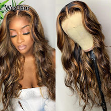 Highlight Lace Front Human Hair Wigs Honey Blonde Body Wave Wig Ombre Remy Preplucked Brazilian Body Wave 4x4 Lace Wig For Women