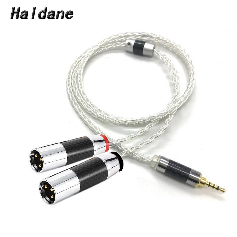 Haldane HIFI 8 النوى 7N OCC الفضة مطلي 4.4 مللي متر/3.5 مللي متر/2.5 مللي متر TRRS متوازنة إلى المزدوج 2x 3pin XLR متوازن ذكر محول الصوت كابل