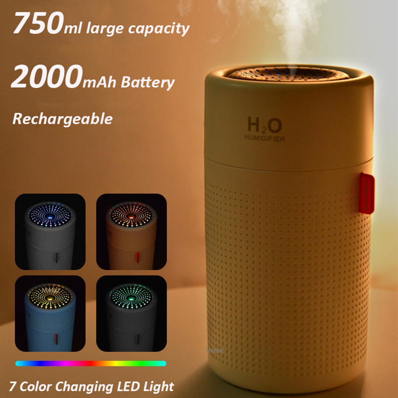 Image 2 - 750ml Large Capacity Air Humidifier 2000mAh USB Rechargeable Wireless Ultrasonic Aroma Water Mist Diffuser Light UmidificadorHumidifiers   -