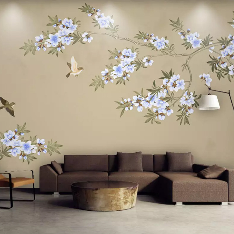 New Chinese Style Hand-Painted Fine Brushwork Flowers And Birds Branch Bedroom Sofa Background Wallpaper Retro American-Style De