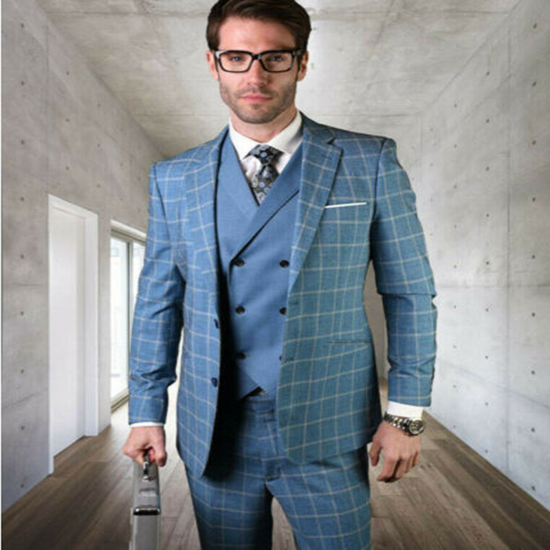 2020 Handsome Men's Tweed Notch Lapel Blue Check/Palid Suits Formal For Wedding Tuxedos Slim Fit Party Prom Suit
