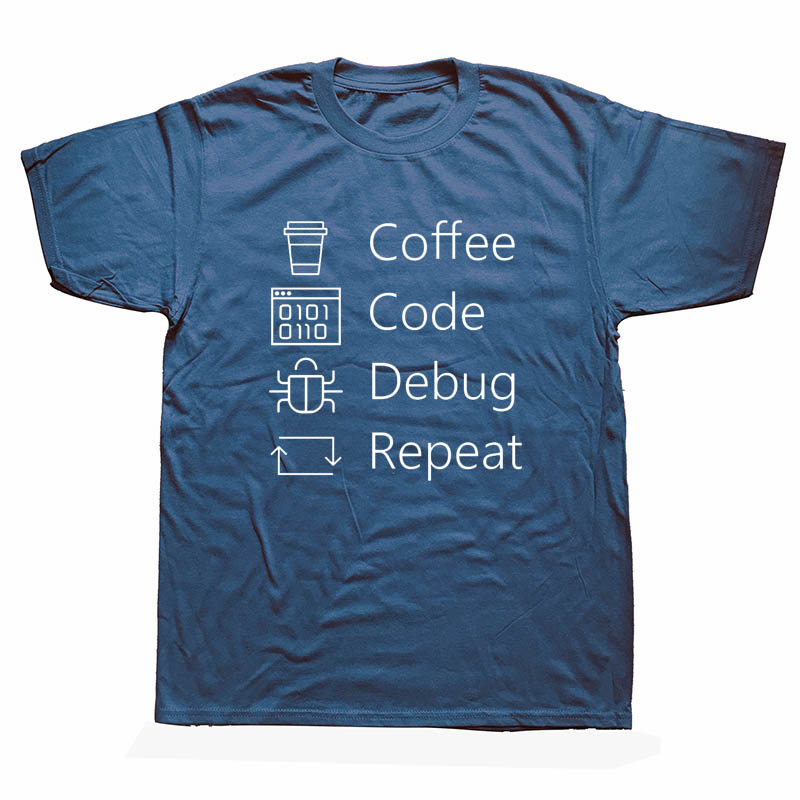 Funny I CAN'T KEEP CALM I'M DEBUGGING T Shirts Men Summer Short Sleeve O-Neck Cotton Coffee Code Programmer T-shirt Unisex