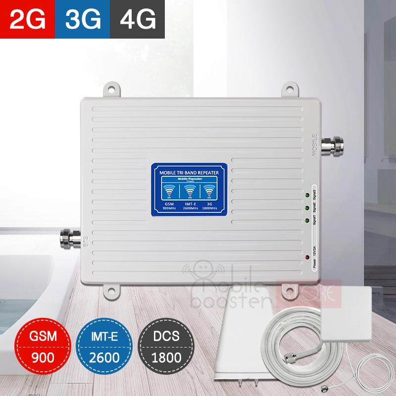 4g amplificador 900 + 1800 + 2600 reforço de sinal móvel 4 2g gsm lte 1800g 2600mhz repeate celular amplificador de impulsionador móvel b1 b3
