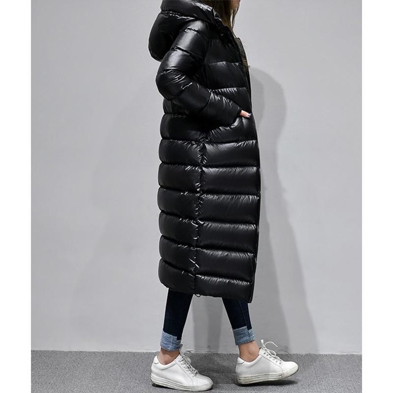 AYUSNUE Women's Winter Down Jacket Long 90% White Duck Down Coat Women Korean Hooded Puffer Jacket Chaqueta Mujer YY1192