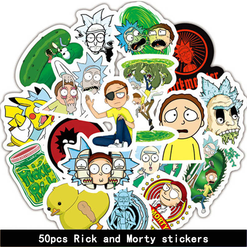 50 pz/set Rick e Morty Sticker Cosplay prop Accessori IN PVC Impermeabile Del Fumetto Anime Adesivi