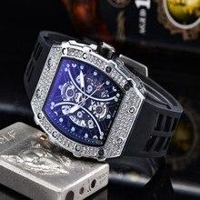 Diamond Men Watch Fashion Luxury Leather Silicone Male Watch