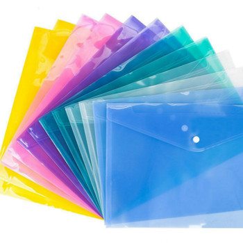 12PCS New arrival A4 Clear Document Bag Paper File Folder Stationery School Office Case PP 6 colors Filing Products 1