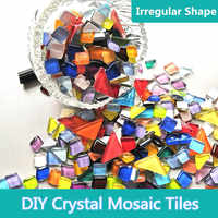 300g Colorful Crystal Mosaic Tiles with Irregular Shape Mosaic Stone Mixed Color DIY Art Craft Materials for Kids/Children