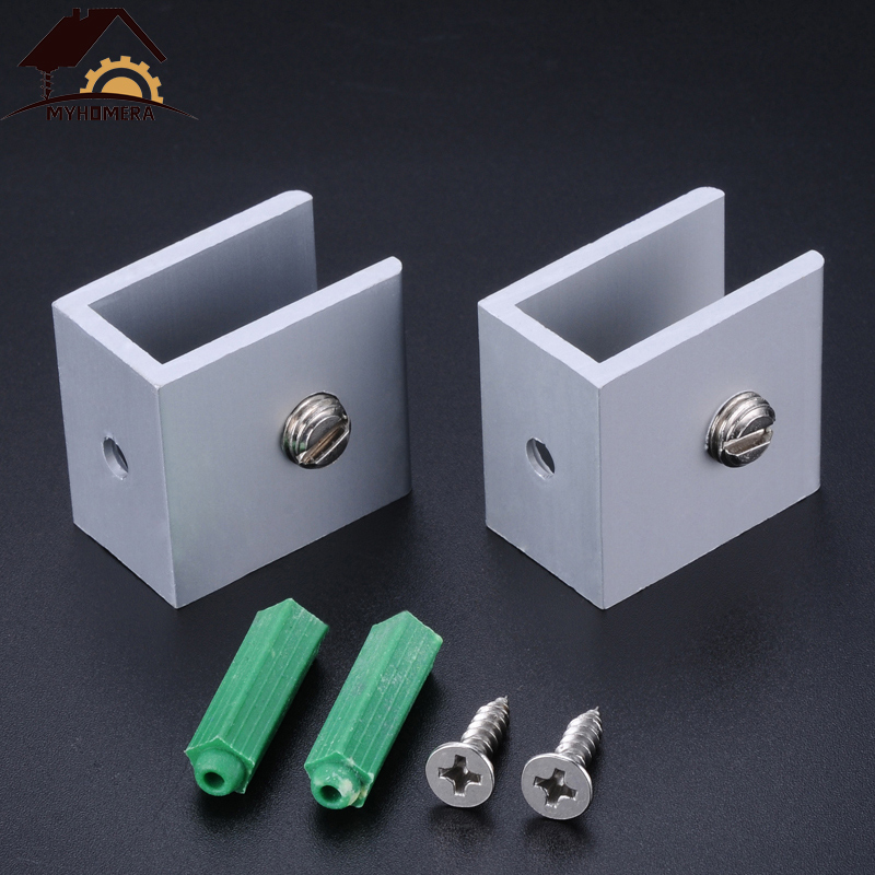 2PCS Myhomera Glass Clamps Shelves Holder Corner Bracket Clamp Aluminum For 6mm 8mm 10mm 12mm 18mm Thick Glass Clips Wholesale