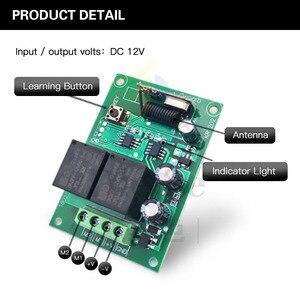 Image 5 - جهاز التحكم عن بعد 433Mhz تيار مستمر 12 فولت 2CH rf التتابع جهاز إرسال واستقبال ل كراج عن بعد التحكم وتغيير المحرك السلبية الإيجابية