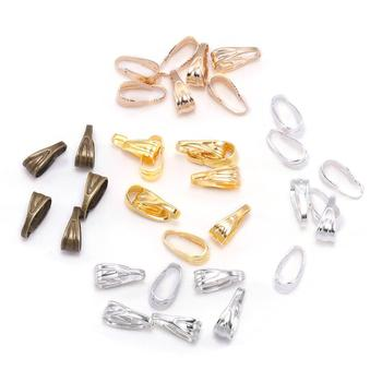 цена на 100pcs/lot 7 8 mm Pendant Clasp Connectors  Gold Clips Connectors For Jewelry Making Finding Necklace Accessories Supplies