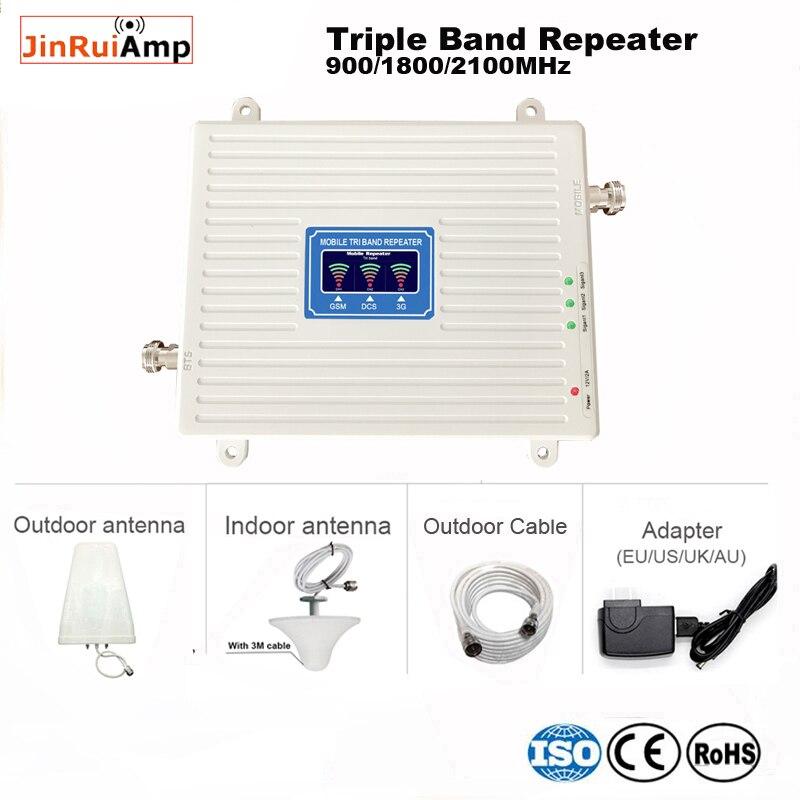 2G 3G 4G tri band ripetitore Cellulare GSM Ripetitore Del Segnale 70dB GSM 900 LTE 1800 WCDMA 2100mhz Mobile Del Segnale Del Ripetitore Antenna Set