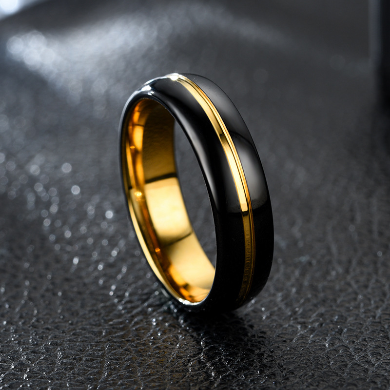 Black and gold tungsten ring for mens women jewelry black carbide 6MM/8MM