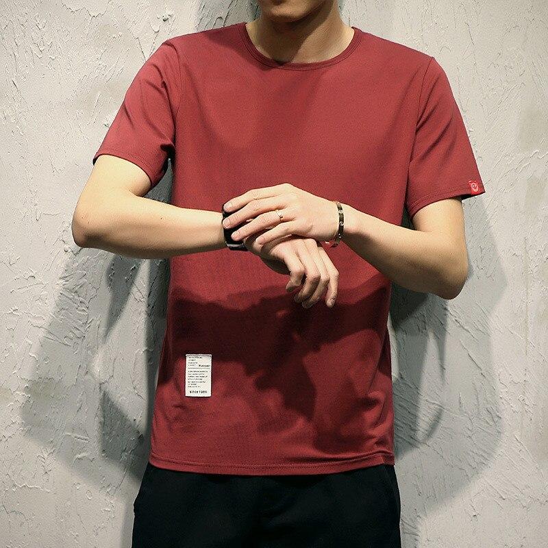 Camiseta de manga corta de verano para hombre, Camiseta ajustada de algodón de color sólido, versión coreana de cuello redondo Suelto|Camisetas|   - AliExpress