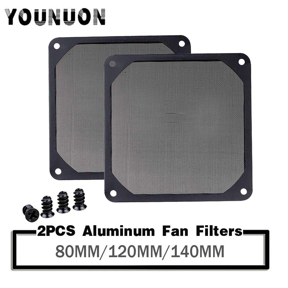2Pcs Younuon 80mm 120MM 140MM Black Fan Dust Filter PC Fan Aluminum Dustproof Cover Net 8CM 12cm 14CM