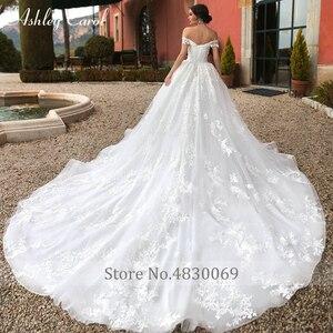 Image 2 - 애슐리 캐롤 볼 가운 웨딩 드레스 2020 페르시 아가씨 모자 슬리브 공주 아플리케 신부 드레스 로브 드 Mariage 로얄
