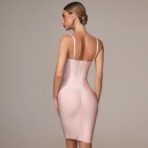 Image 5 - 2020 herbst Neue frauen Mode Sexy Verband Kleid Blau Weiß Rosa Schwarz Spaghetti V ausschnitt Quaste Party Weihnachten Kleid