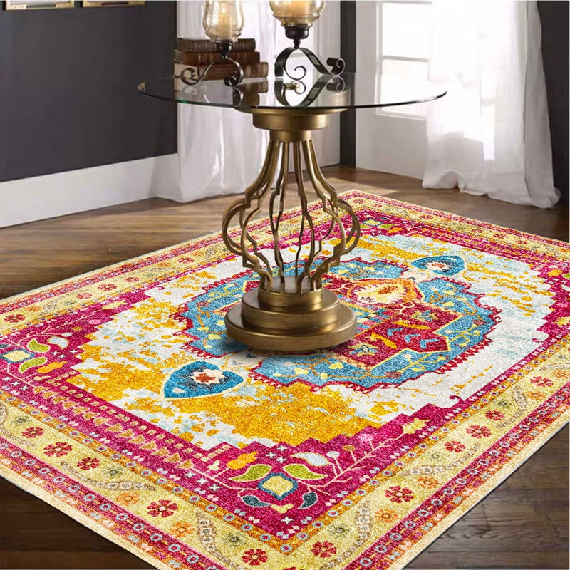 Persian Style Living Room Non-Slip Floor Mat Morocco Geometric Flowers Table Sofa Area Rug Bedroom Bedside Kids Play Game Carpet