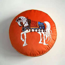 2019 Printed Round Velvet Throw Pillow Seat Chair  Europe Vintage Home Decor Luxury Cushion Case Shape Horse Decorative