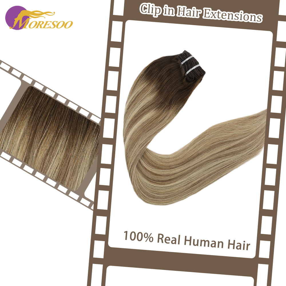 Moresoo Clip In Hair Extensions Machine Remy Human Hair Straight Brazilian Hair 9Pcs/100G Clip Ins 16-24 Inch Double Weft