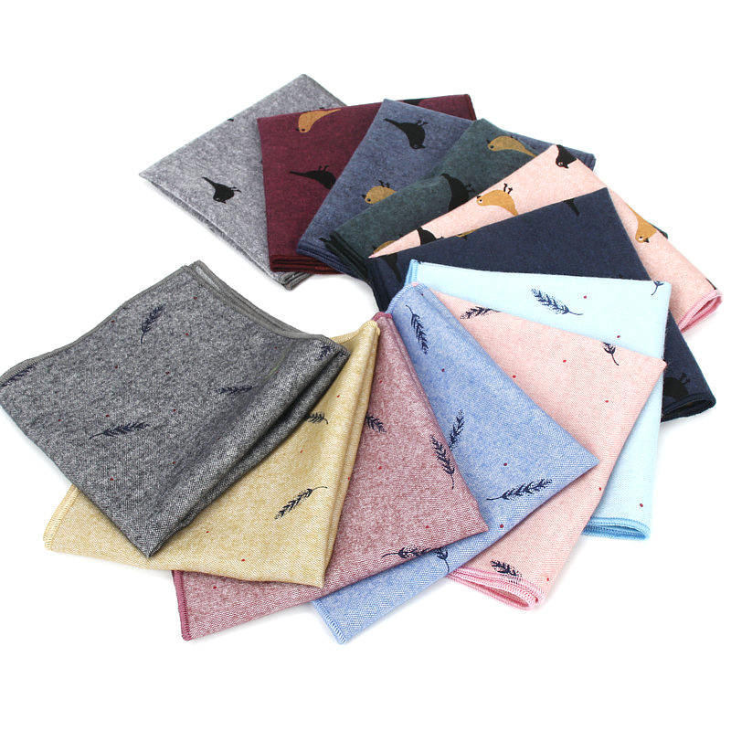 7 Pcs Cartoon Pattern Handkerchiefs Unisex Casual Pockets Square Cotton Handkerchief 25x25cm Party Handkerchief Wedding Hankies