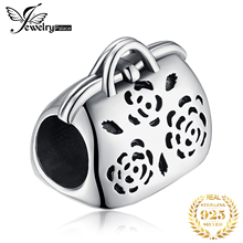JewelryPalace Flower Purse  925 Sterling Silver Beads Charms Original For Bracelet original Jewelry Making