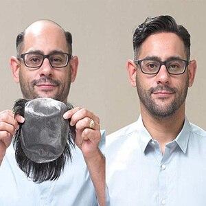 BYMC, pelo liso, tupé de poliuretano para hombres, Color negro Natural, aspecto europeo, pelo humano, tupé de poliuretano completo, sistema de repuesto, pieza gratis
