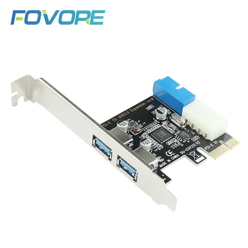 Adaptador de placa de expansão pci-e, adaptador usb 3.0 com 2 entradas usb3.0 hub interno 19pin 19 cabeçote usb 3 para pcie pci placa adaptadora expressa