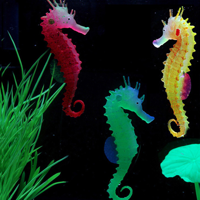 1pc Silicone Artificial Night Luminous Hippocampus Fish Tank Aquarium Ornament Underwater Sea Horse Decoration Pet Supplies 1