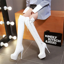 Cuissarde Femme High Heels Botas Altas Mujer Tacones Thigh Talons Hauts Knee Boots White Shoes For Women 2020 Stripper Platform