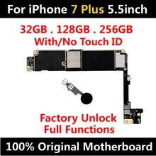 Fabrik Entsperren Für iPhone 7 Plus128gb Original Motherboard Mit/Keine Touch ID Mainboard IOS Installiert Logic Board 32GB 256GB