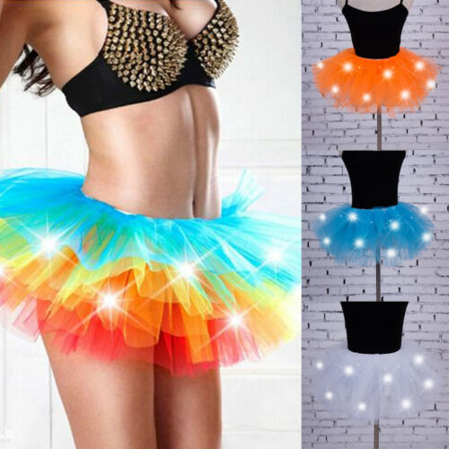 Dance Led Lights Tutu Mesh Party Skirts Women Tulle Skirt Sexy Mini Adult Fluffy Yarn Ballet Dance Halloween Light Up - Rave