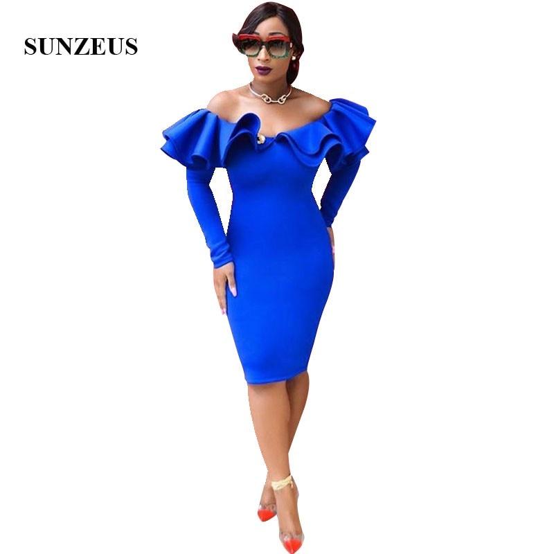 Gaine épaule dénudée manches longues Robe de bal avec volants longueur genou bleu Royal robes de soirée femmes robes formelles Robe de Gala