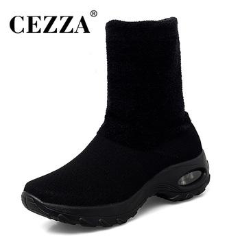 CEZZA buty zimowe damskie siatkowe buty ze skórki cielęcej buty damskie wsuwane buty skarpety buty damskie elastyczne buty Stretch mokasyny buty kobieta tanie i dobre opinie Mesh (air mesh) Połowy łydki Pasuje prawda na wymiar weź swój normalny rozmiar Okrągły nosek Zima Slip-on Stałe