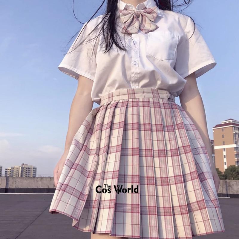[Jujube Red White] Girl's Summer High Waist Pleated Skirts Plaid Skirts Women Dress For JK School Uniform Students Cloths