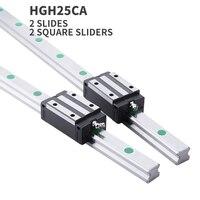 Hgr25 guia linear 25mm 2pc trilho de guia linear qualquer comprimento + 2pc transporte linear hgh25ca ou hgw25cc cnc peças frete grátis|Guias lineares| |  -