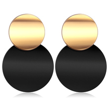 X&P Statement Unique Matte Black Acrylic Drop Earrings for Women Korean Gold Metal Round Dangle Earr