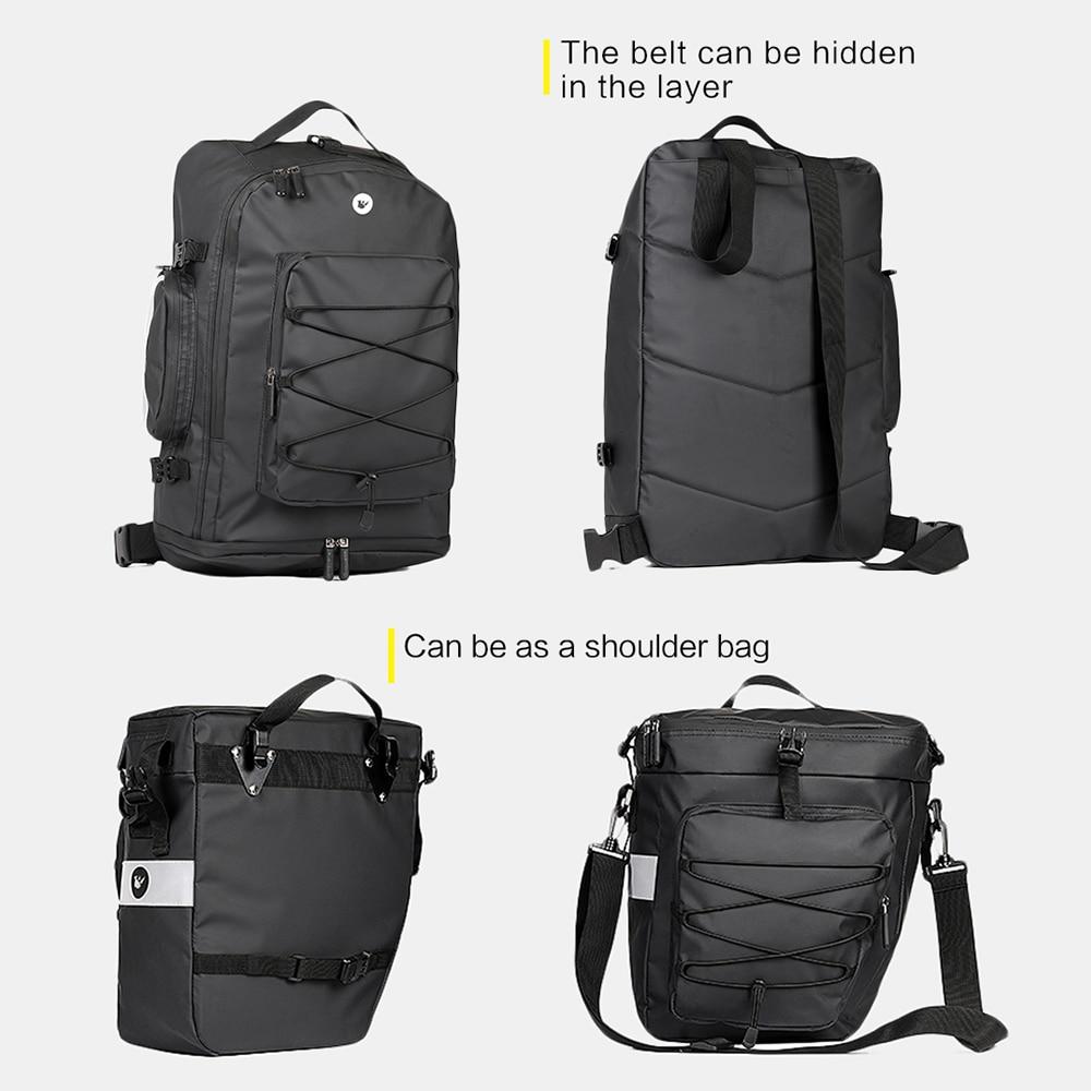 Sac arrière de vélo multifonctionnel 3 en 1 sac à bandoulière de vélo étanche sac de selle de vélo sac de coffre de sacoche de porte bagages de bicyclette - 5