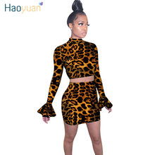 HAOYUAN Sexy Leopard Two Piece Set Women Fall Winter Festival Clothing Crop Top and Skirt Matching Suits 2 Piece Club Outfits(China)