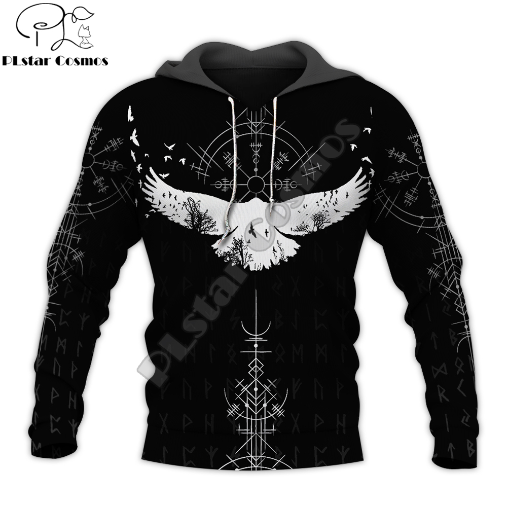 Viking Raven Symbol Tattoo 3D Printed Men Hoodie Harajuku Fashion Hooded Sweatshirt Street Jacket Autumn Unisex Hoodies WJ-123