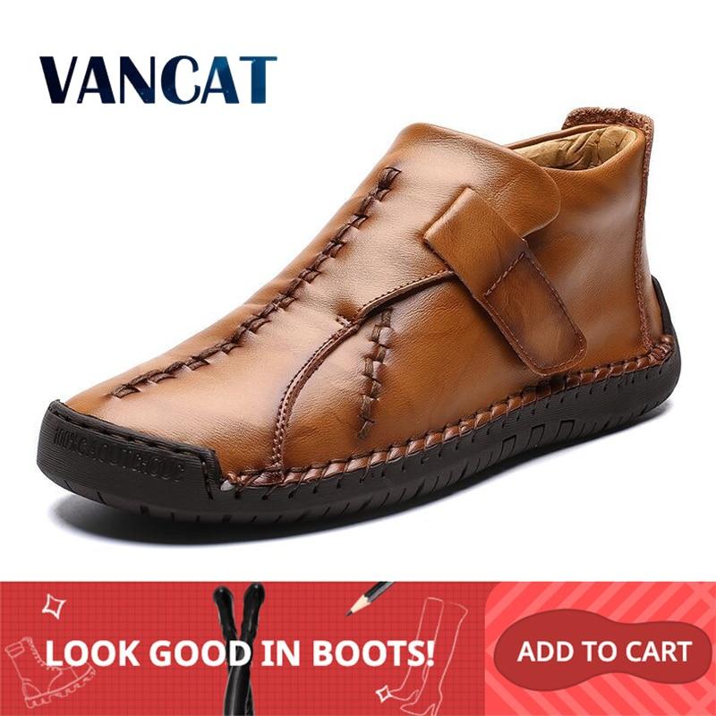 Winter Men Snow Boots High Quality Leather Plush Man Ankle Boots Warm Fur Men's Boots Autumn Men Shoes Casual Shoes Big Size 48