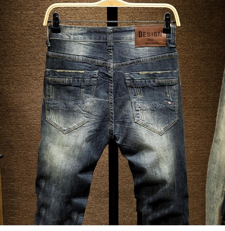 KSTUN Mens Dark Blue Jeans Pants Denim Slim Fit Elastic Casual Punk Jeans Men High Street Vintage Scratched Fashion Pockets Designer 14