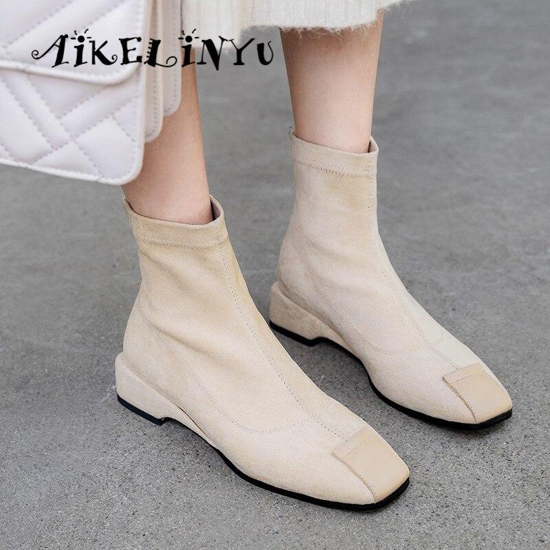 AIKELINYU Women Boots British Style Flock Velvet Stretch Casual Fashion Comfortable Low Heels New Basic Lady Sock