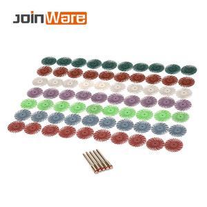 Image 1 - 70 pçs escova abrasiva de cerdas radiais misturadas grit grosso dremel acessórios para ferramenta abrasiva + 5 pçs mandril