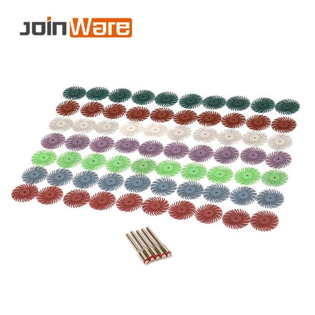 70pcs Radial Bristle Abrasive Brush Mixed Grit Coarse Dremel Accessories for Abrasive Tool +5pcs Mandrel